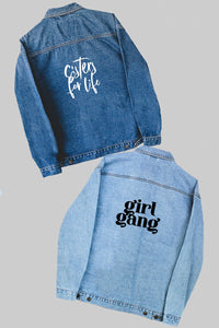 Custom denim jacket - choose your font! - Spikes and Seams Greek