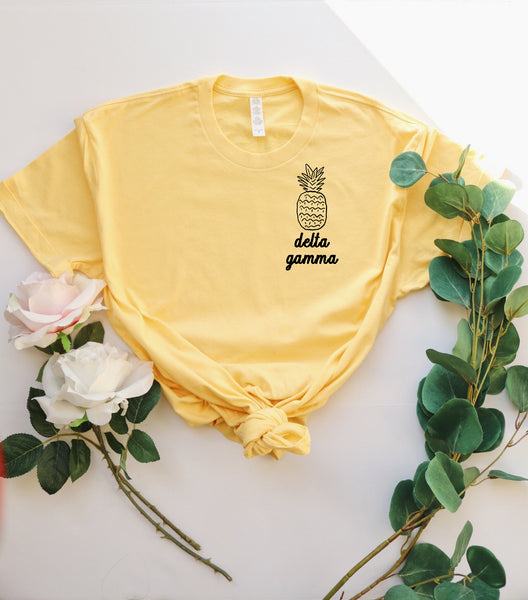 Yellow Pineapple Tee - available for most sororities! - Spikes and Seams Greek