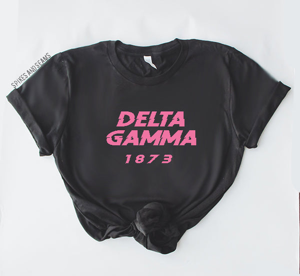 Black & Pink tee - most sororities available! - Spikes and Seams Greek