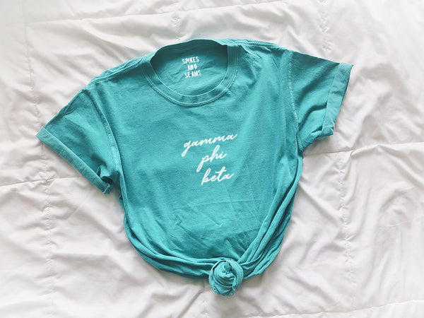 Seafoam Tee - pick your sorority! - Spikes and Seams Greek
