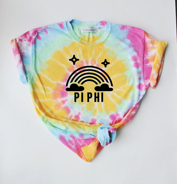 Tie Dye Rainbow Tee - pick your sorority! - Spikes and Seams Greek