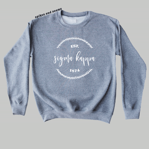 Grey Wreath Sweatshirt - any sorority! - Spikes and Seams Greek