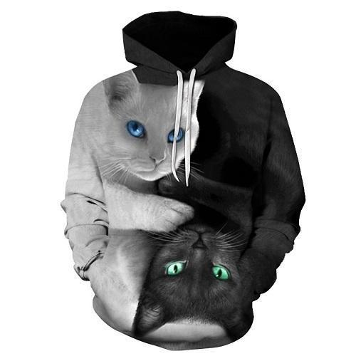Pullovers XXXL / Black and White 3D Black and White Cat Hoodie