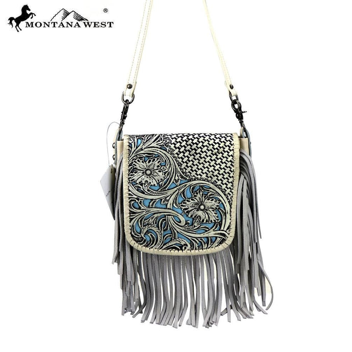 RLC-L086 Montana West 100% Real Leather Tooled Crossbody