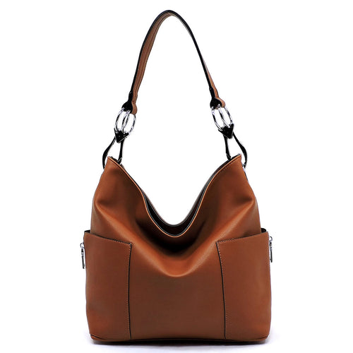 Side Zip Pocket Classic Bucket Bag