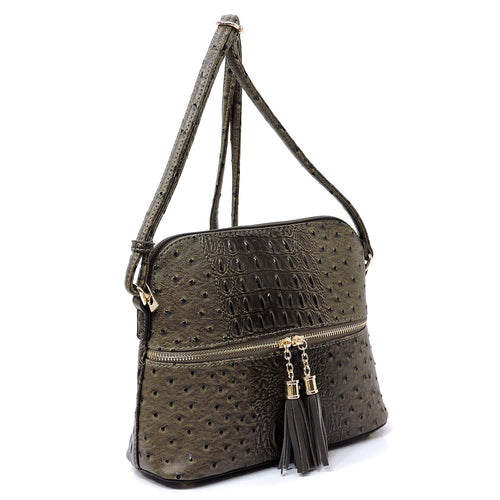 Ostrich Croc Tassel Zip Dome Crossbody Bag Satchel