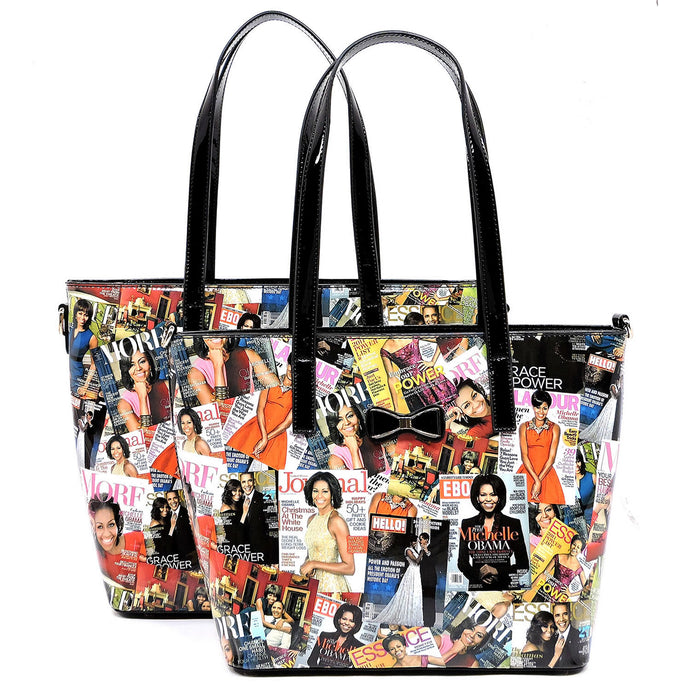Magazine Cover Collage Bow 2-in-1 Shopper