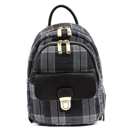 Tartan Plaid Check Canvas Backpack