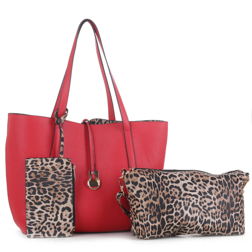 Tote bag with inside leopard skin ~ 3 PC Set Reversible