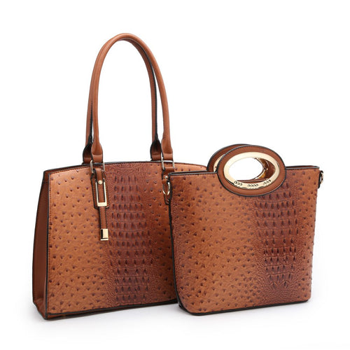 2 Piece Fashion Ostrich Croc Handbag Value Set