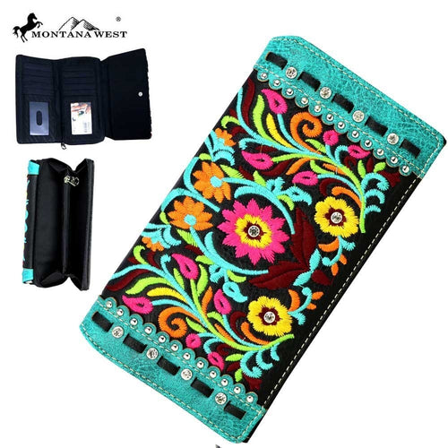 MW468-W010 Montana West Embroidered Collection Secretary Style Wallet