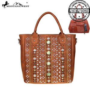 MW522G-8263 Montana West 12 Gauge Concho Collection Concealed Handgun Tote/Crossbody