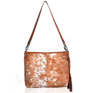 Hair On Leather Shoulder Bag With Cross Body And Ccg Pouch Tan With White Hair On Tan White
