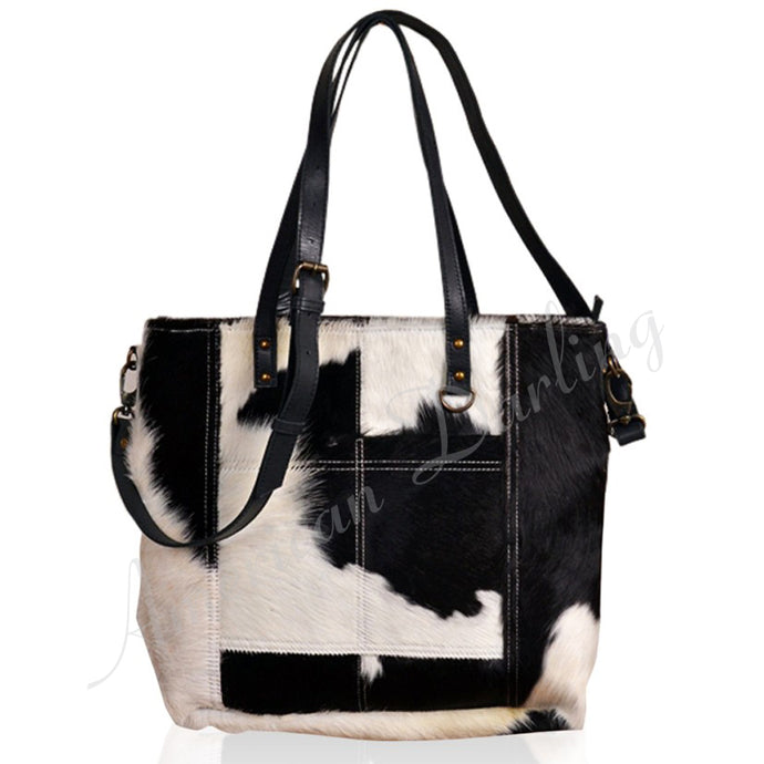 Hair On Leather Tote Bag With Cross Body And Ccg Pouch Black With White Hair On Black White