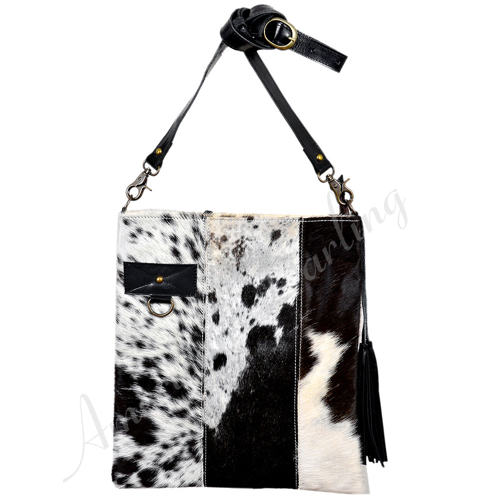 Hair On Leather Crossbody Bag With Ccg Pouch Black With White Hair On Black / White
