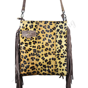 CHEETAH PRINT WITH FRINGES Hair On Leather Crossbody Bag