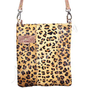 Cheetah Print  Hair On Leather Crossbody Bag