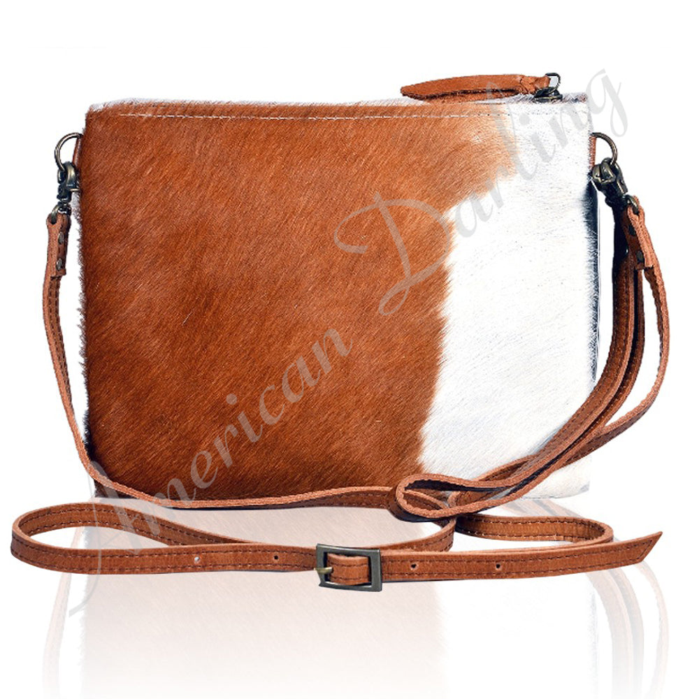 Hair On Leather Crossbody Bag Tan With White Hair