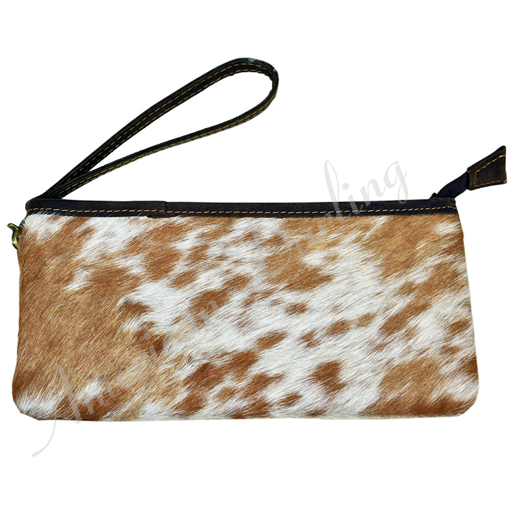 Real Cowhide Leather Wristlet Clutch Purse