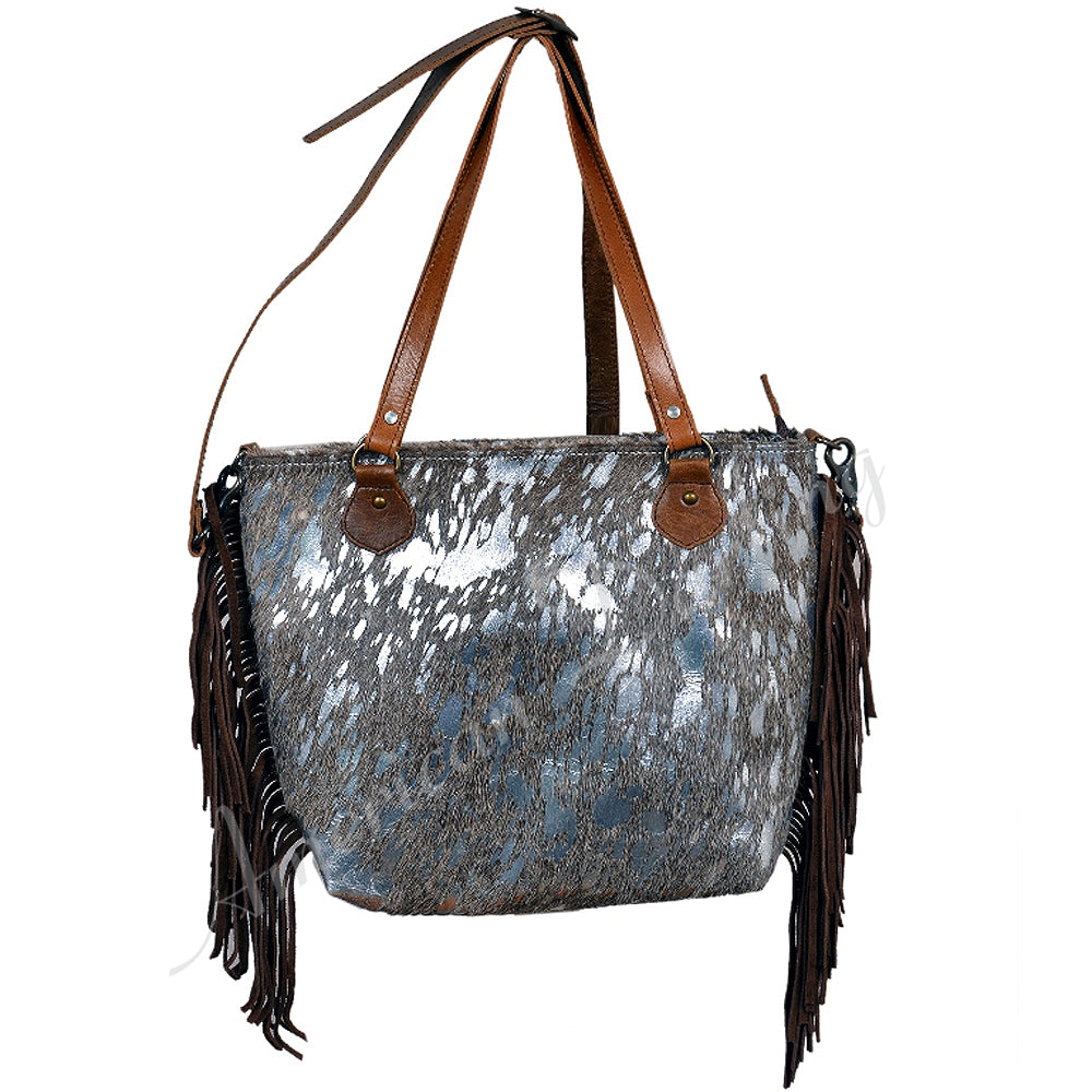 Acid Silver Hair on Hide Bag With Fringe