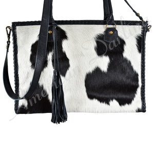 HAIR ON LEATHER SHOULDER BAG WITH CROSS BODY AND CCG POUCH Black with White hair on Black