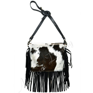 Hair On Leather Crossbody Bag With Fringes Black With White Hair