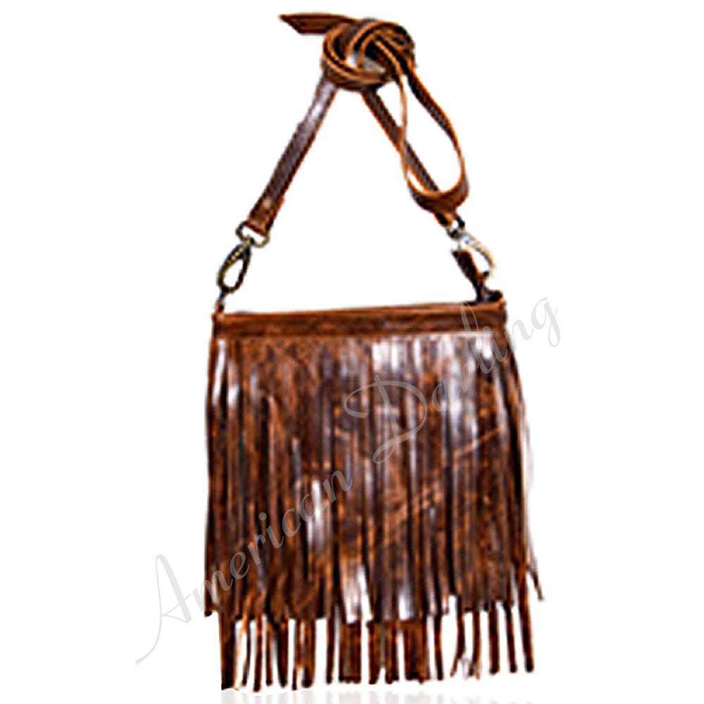 Rustic Leather Cross Body Bag With Fringes