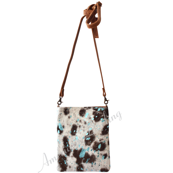 Acid Turquoise Hair on Hide Small Crossbody