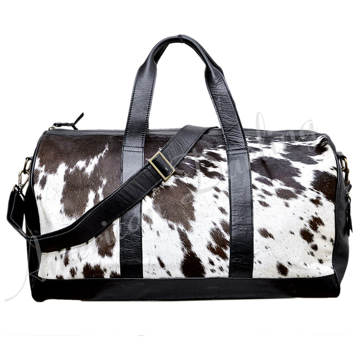 Hair On Leather Duffel Bag Black With White Hair On Black / White