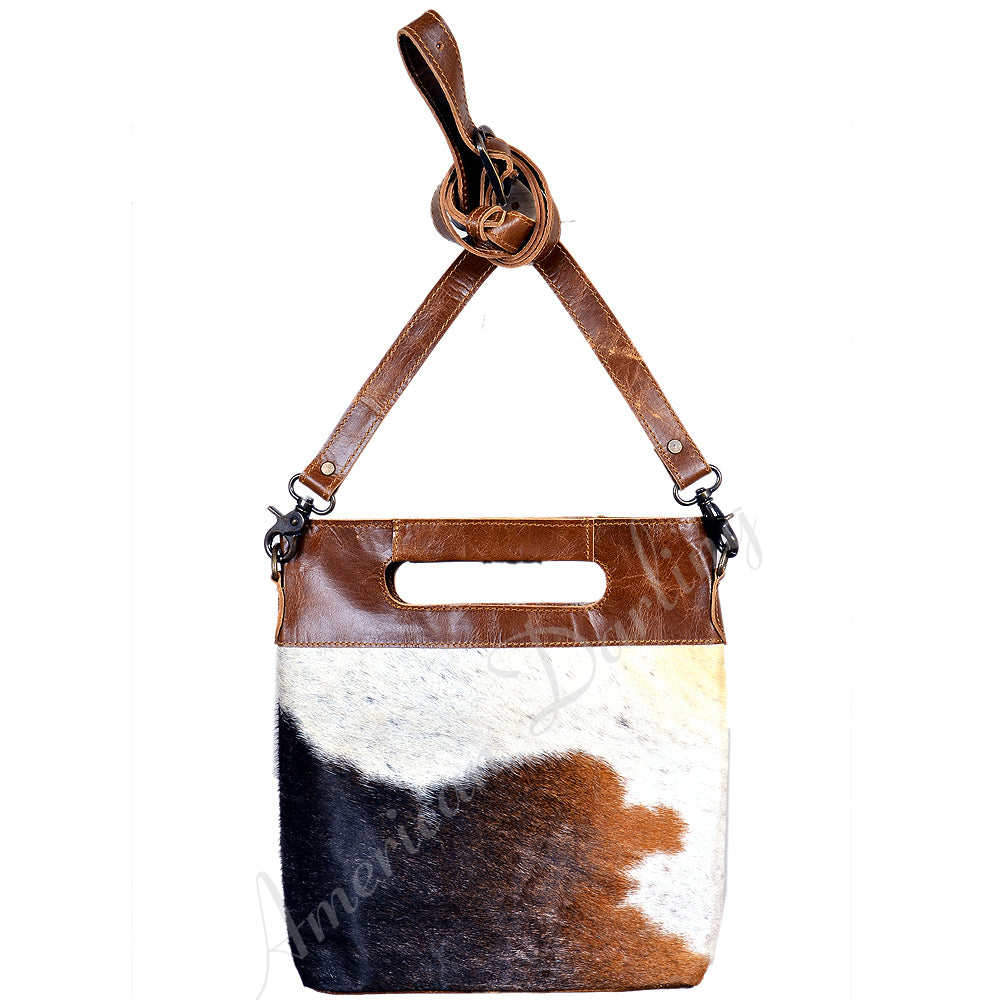 Hair On Leather Clutch Bag With Cross Body