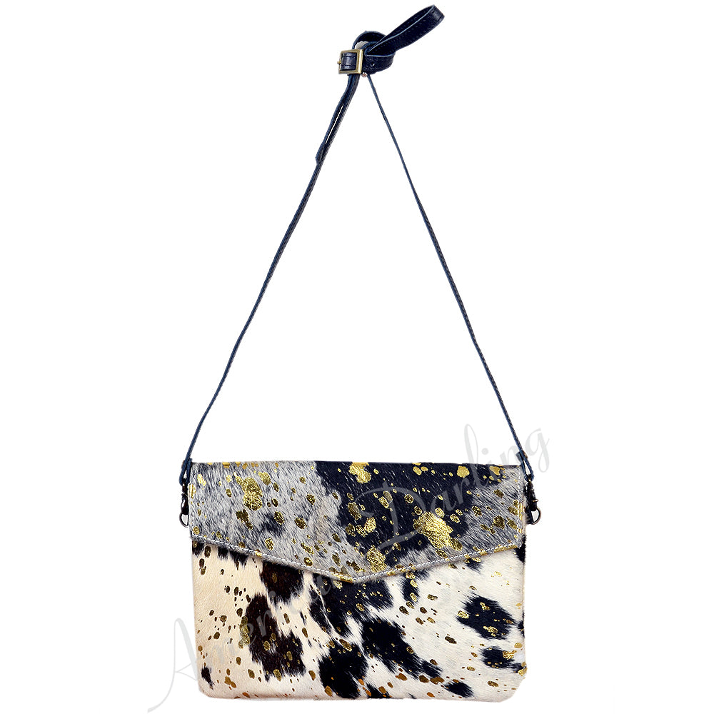 Hair On Leather Envelop Bag With Cross Body Acid Gold