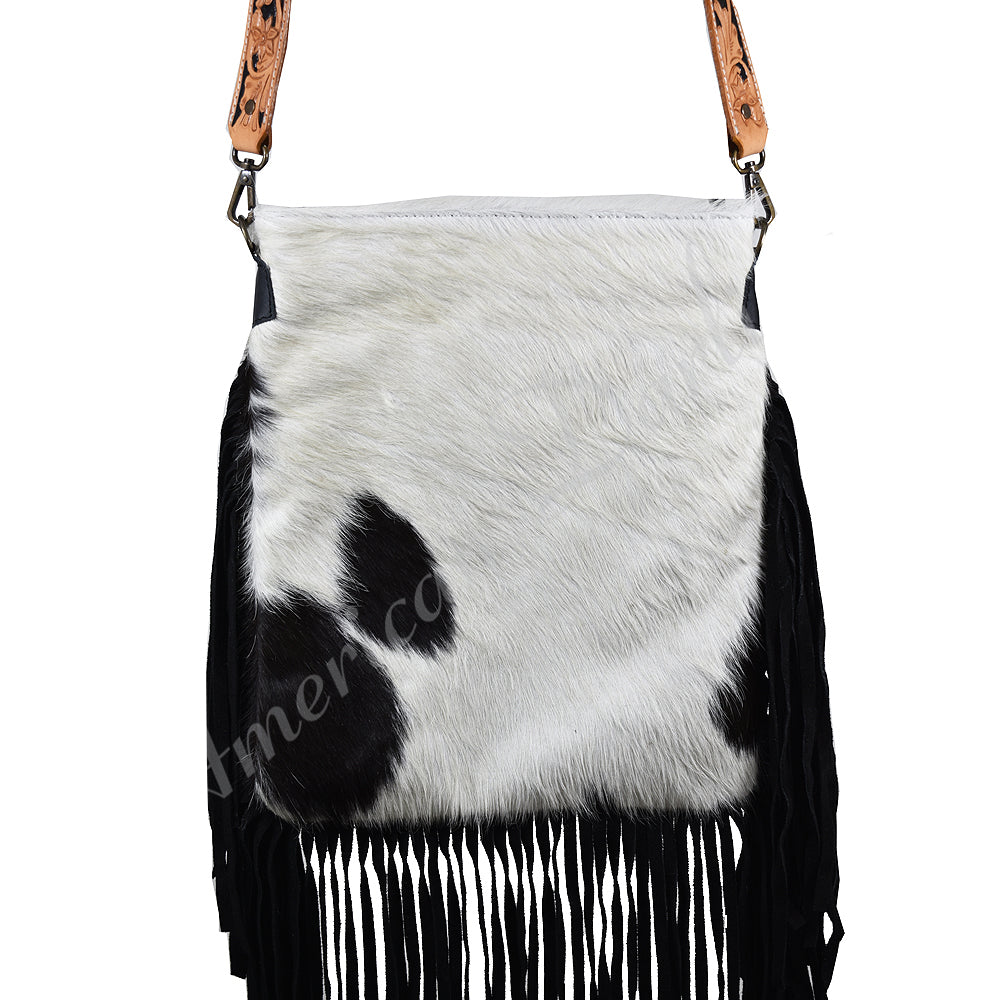 Black White Cowhide Handbag With Fringe, Strap Leather, Concealed Carry Handbag