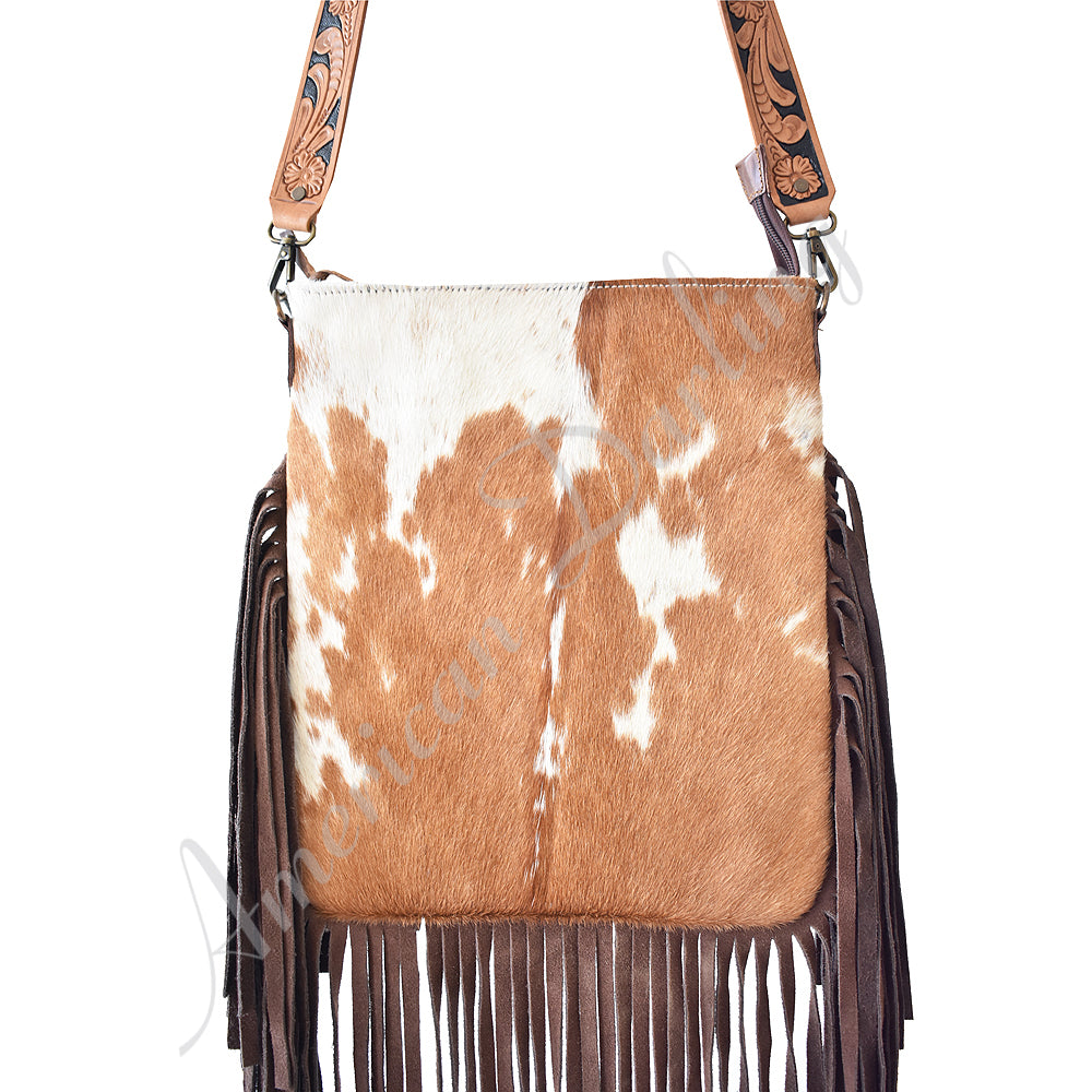 Tan Cowhide Handbag With Fringe, Strap Leather, Concealed Carry Handbag