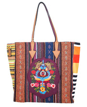 CJF038-LP MULTI-COLOR STRIPED BOHEMIAN CANVAS 2-WAY TOTE