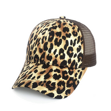 Womens Girls Leopard Print Baseball Trucker Ponytail Cap