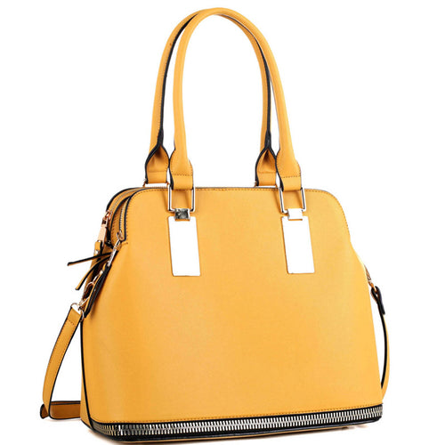 Fashionable Zipper Accent Bottom 3 Compartment Saffiano Satchel