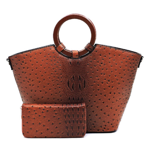 Ostrich Croc Wooden Handle 2-in-1 Satchel