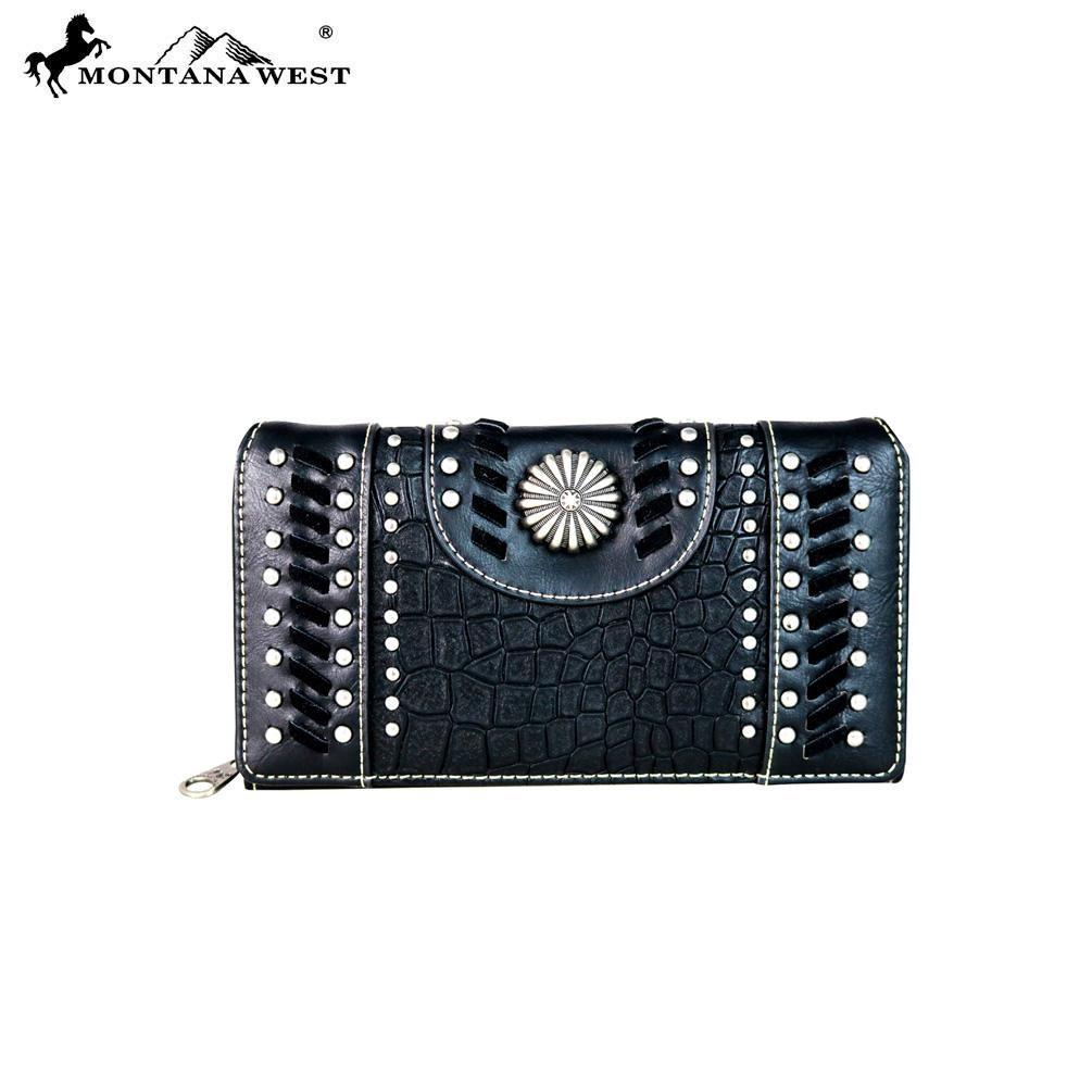MW647-W010 Montana West Concho Collection Secretary Style Wallet