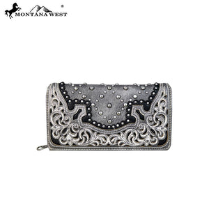 MW658-W010 Montana West Embroidered Collection Secretary Style Wallet