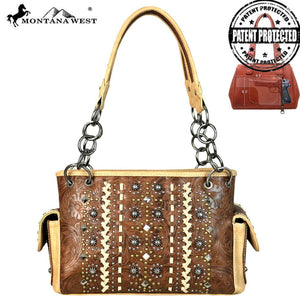 MW662G-8085 Montana West Tooled Collection Concealed Carry Satchel