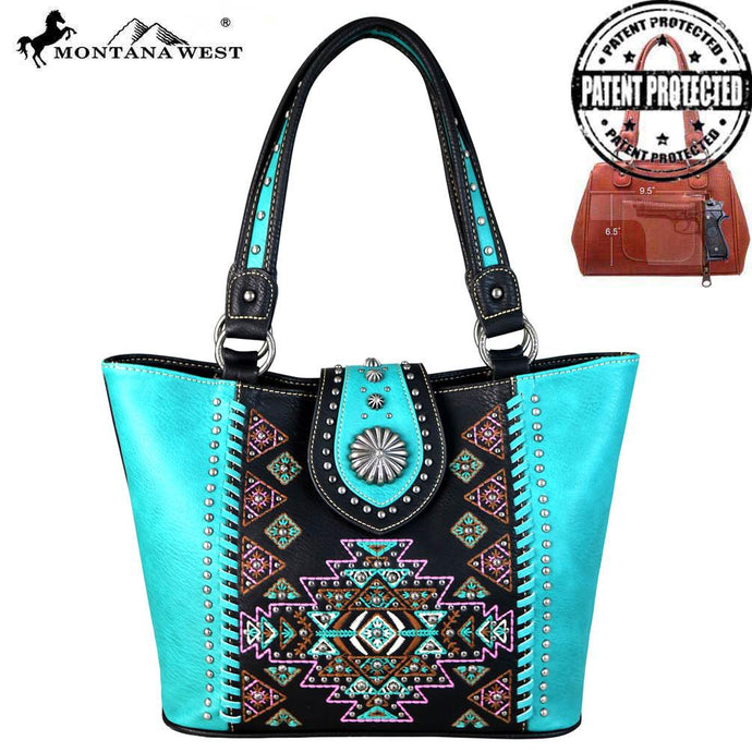MW666G-8317 Montana West Aztec Collection Concealed Carry Tote