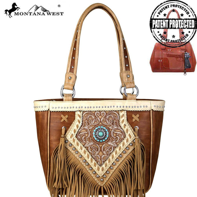 MW691G-8305 Montana West Concho/Fringe Collection Concealed Carry Tote Bag