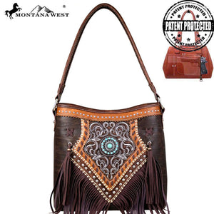 MW691G-918 Montana West Concho/Fringe Collection Concealed Carry Hobo Bag
