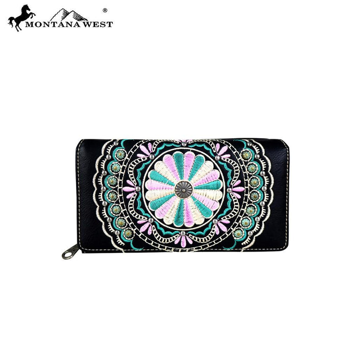MW694-W010 Montana West Embroidered Secretary Style Wallet