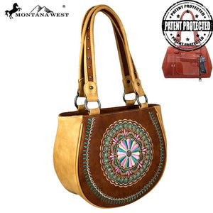 MW694G-8549 Montana West Embroidered Collection Concealed Carry Tote Bag