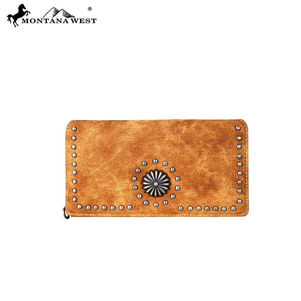 MW708-W010 Montana West Concho Collection Secretary Style Wallet
