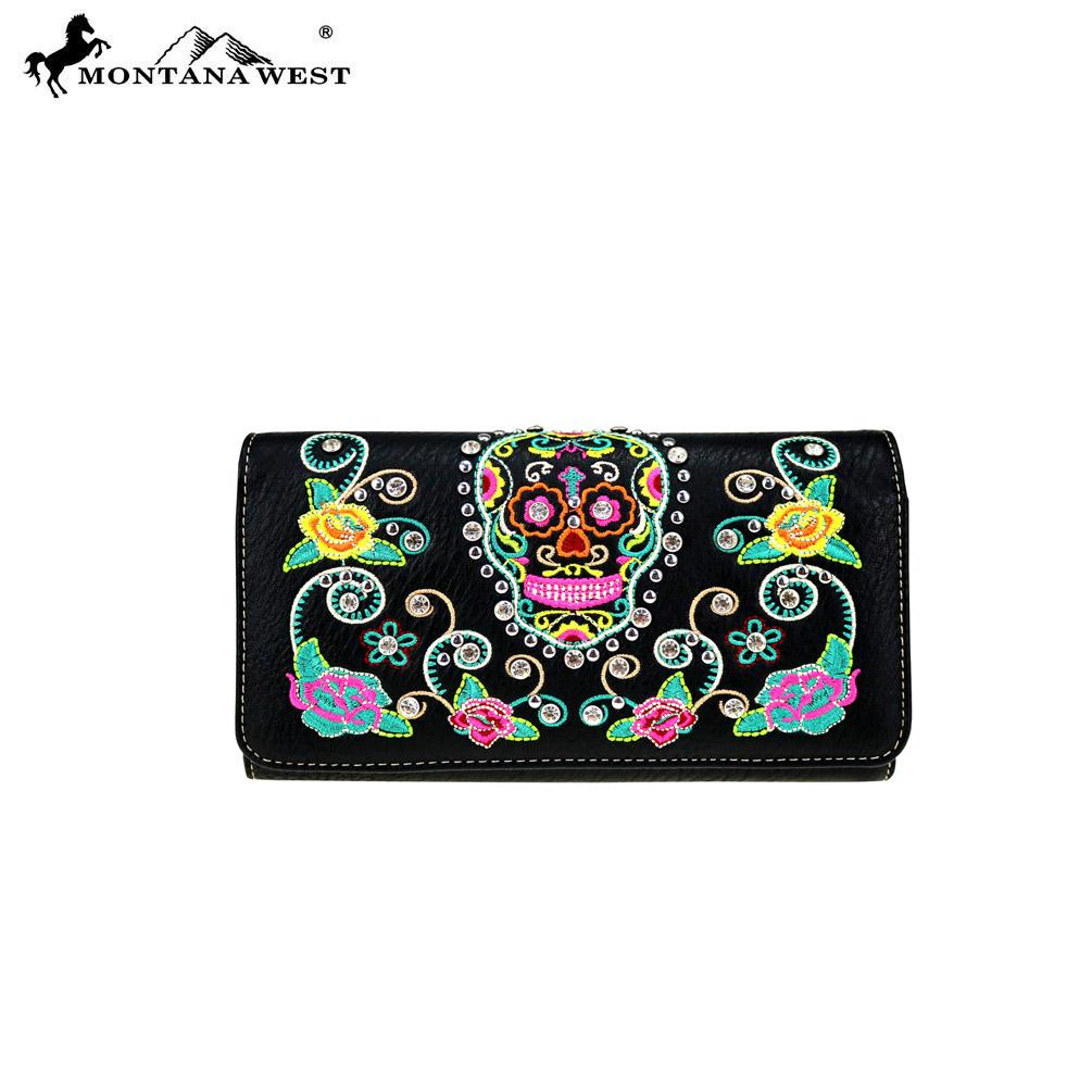 MW741-W018 Montana West Sugar Skull Collection Wallet - Black