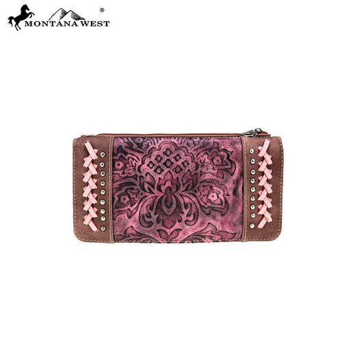 MW753-W021 Montana West Western Tooled Collection Wallet