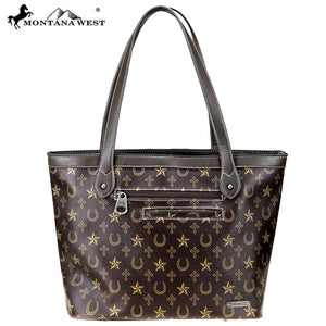 MW776-8581 Montana West Western Monogram Collection Wide Tote