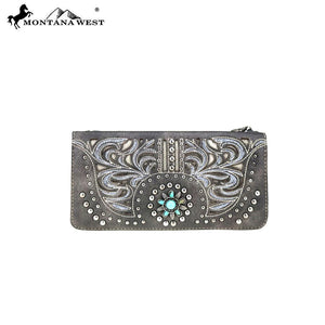 MW783-W021 Montana West Concho Collection Secretary Style Wallet